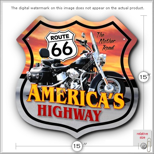 collectible reproductions Route 66 motorcycle tin metal sign US Seller