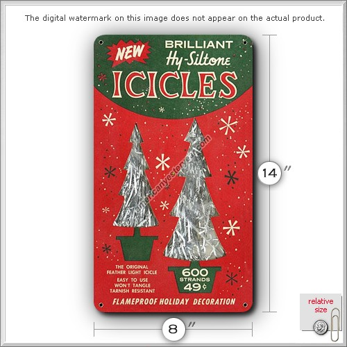Christmas tree icicles holiday decoration tin metal sign