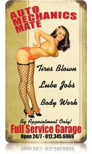 Full Service Garage Pin Up Girl Tin Metal Sign