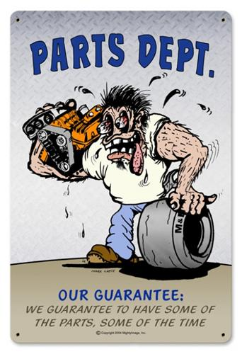 Discount Car Parts >> Parts Department Automotive Humor Tin Metal Sign Reproduction - American Yesteryear Metal Signs