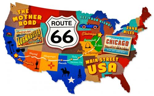Route 66 USA Mother Road Map Tin Metal Sign Reproduction
