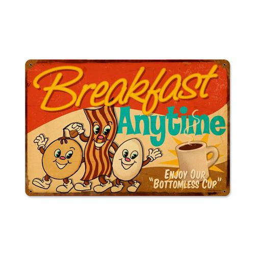 Retro Diner Breakfast Anytime Tin Metal Sign Reproduction