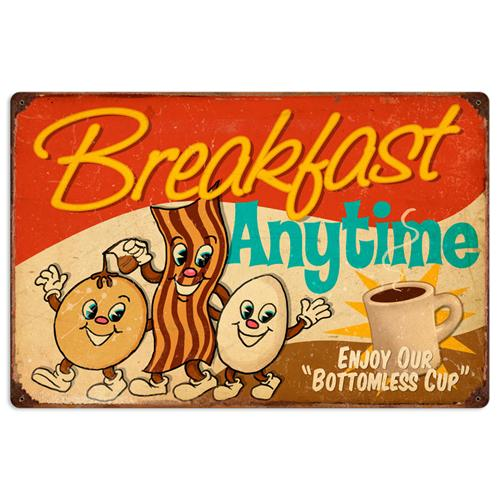Retro Diner Breakfast Anytime Large Tin Metal Sign Reproduction