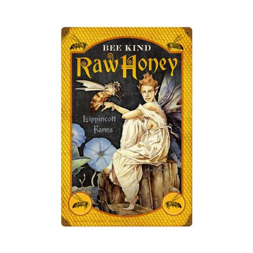 GL004-Bee-Kind-Raw-Honey-tin-metal-sign