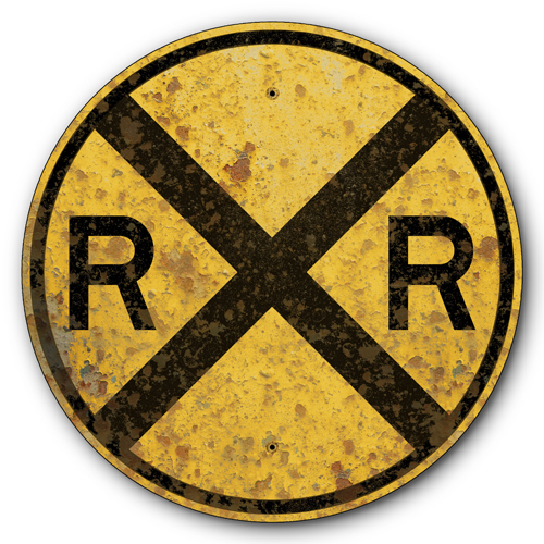 AYY018-1935-Railroad-Train-Crossing-Old-Rusted-Vintage-FX-tin-metal-sign
