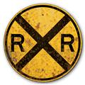 1935 Railroad Train Crossing Old Rusted Vintage FX Tin Metal Sign :: 14 inch diameter