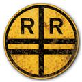 1927 Railroad Train Crossing Old Rusted Vintage FX Tin Metal Sign :: 14 inch diameter