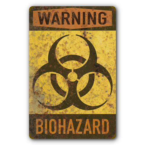 biohazard warning biological hazard symbol rust fx tin metal sign