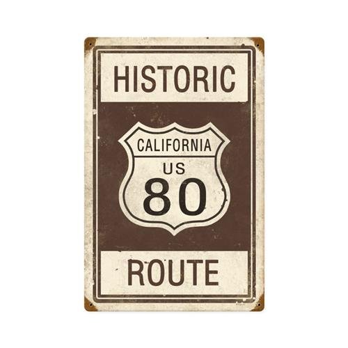 Historic California Route 80 Tin Metal Sign Reproduction