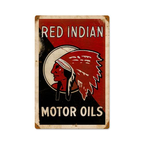 Red Indian Motor Oil Tin Metal Sign Reproduction :: 12 X