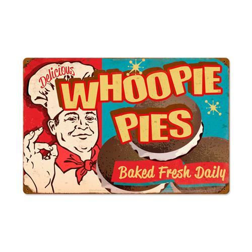 Retro whoppie pies baked fresh daily tin metal sign 24 for Plaque metal cuisine