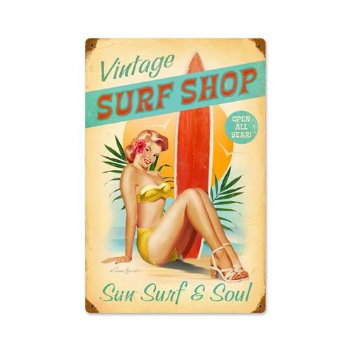 RB074 Vintage Surf Shop Pin Up Girl Pinup