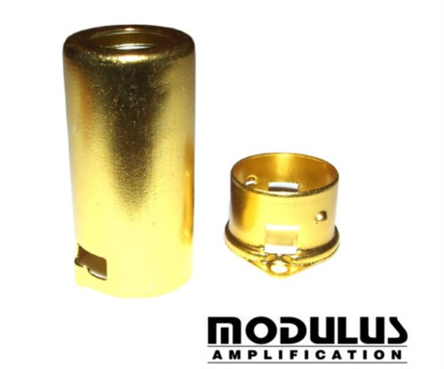 ALUMINIUM PRE AMP VALVE SHIELD-YELLOW ANODISED