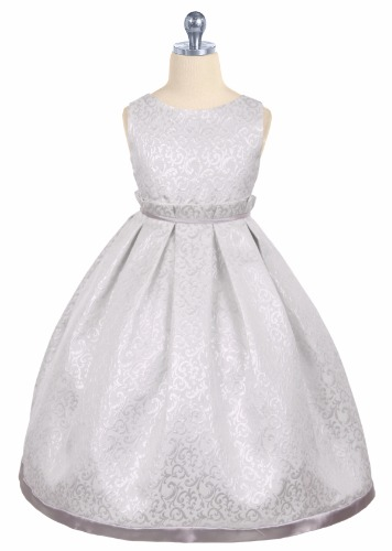 Girls Silver Jacquard Full Length Holiday Dress with Fan Pleated Waist KD345 (1)