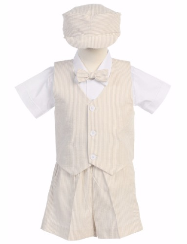 Khaki Cotton Seersucker Vest & Shorts Easter Set w. Hat 6M-4T G820 (1)