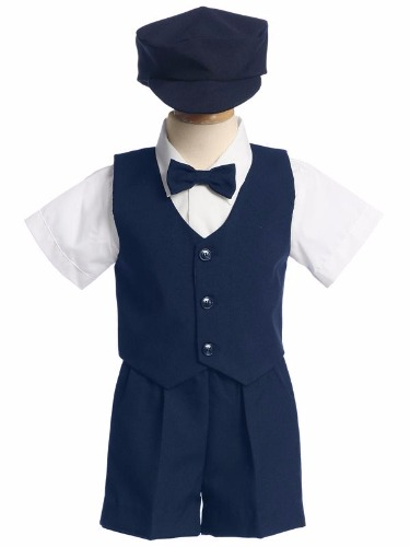 Navy Boys Vest & Shorts Easter Set w. Cap G815