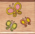 Whimsical Three Butterflies Rubber Stamp by Canadian Maple Collections