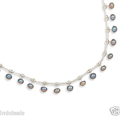 Liquid Silver Peacock Cultured Pearl Necklace