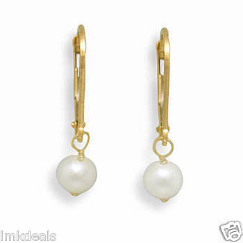 Freshwater Pearl Drop Leverback Yellow Gold Earrings