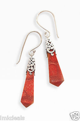 Sponge Coral Oxidized Cap French Wire Earrings