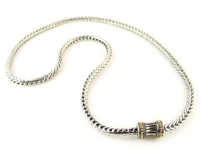 Rhodium Silver Wheat Chain With Magnetic Clasp