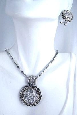 Pave Cable Earrings Necklace Pendant Set