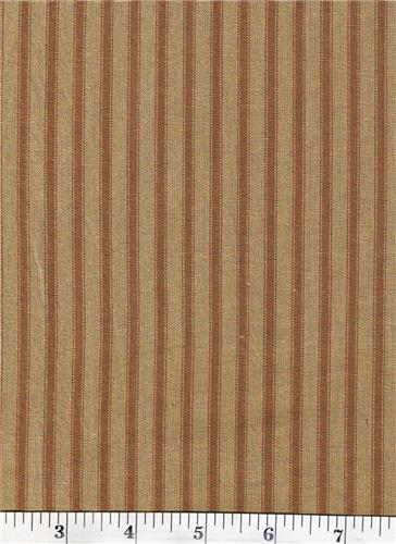 Dunroven House H-96 Primitive Style Homespun Brown Ticking Fabric 1/2 Yd Cut