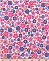 Blues & Pinks Floral 100% Cotton Fabric  1/2 Yd Cut Off The Bolt