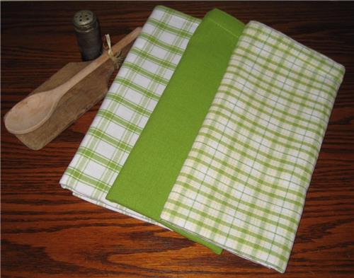 Dunroven House  Shabby Chic Limegreen Dishtowels Set of 3 Stripe Solid Plaid
