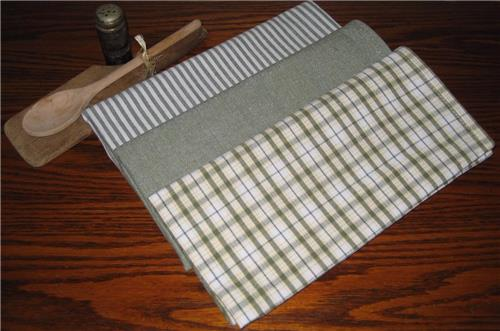 Dunroven House  Chambray Sage  Dishtowels Set of 3 Stripe Solid Plaid