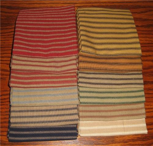 Dunroven House 12 Colors Primitive Homespun Ticking Fabric  Fat Quarter Bundle