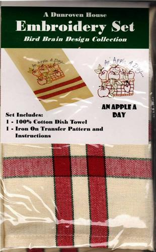 An Apple A Day   Dish Towel  Embroidery Set    1 Towel + Transfer Pattern  Kit