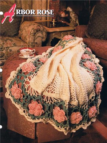 Arbor Rose  Annie's Attic  Crochet Afghan Pattern Instruction Leaflet