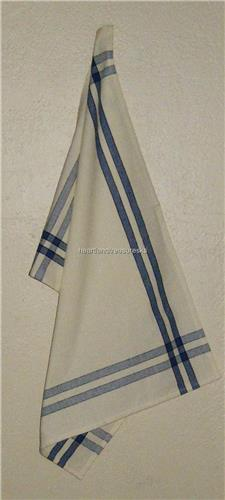 "Blue w/  Black Stripe   Dish Towel  Dunroven House   100% Cotton  20""x28"""