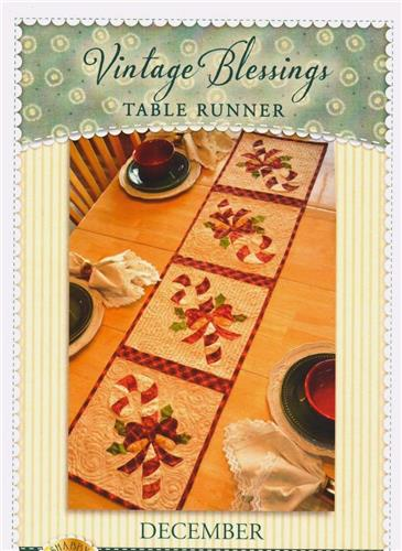 Christmas Candy Cane Runner Applique & Pieced Quilt Pattern Vintage Blessings
