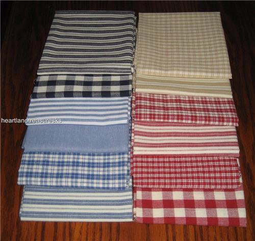 "Dunroven House 12  Homespun Ticking / Plaids / Solids Fabric 10"" Squares"