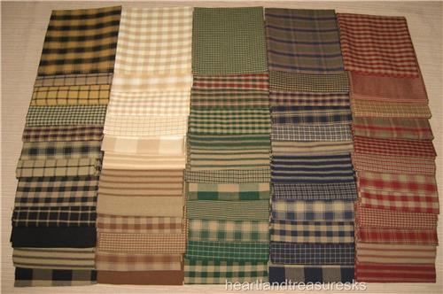 Dunroven House 60 Primitive Homespun & Solid Fabric Fat Quarter Bundles