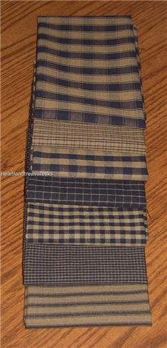 Dunroven House 7 Primitive Homespun Navy & Wheat   Fabric Fat Quarter Bundle