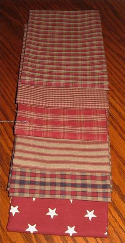 Dunroven House 6  Primitive Homespun Red / Wheat / Navy   Fabric Fat Quarter Bundle