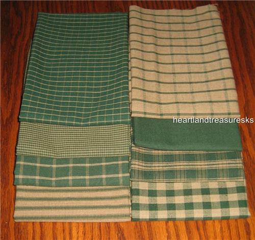 Dunroven House 8  Primitive Homespun Hunter Green / Wheat   Fabric Fat Quarters
