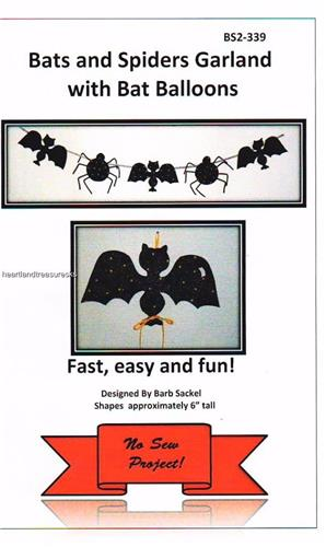 Bats and Spiders Halloween Garland with Balloons No Sew Pattern