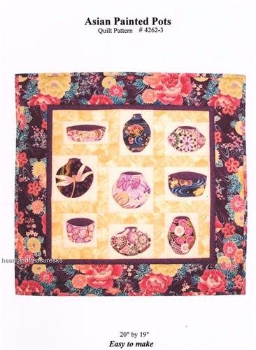 Asian Painted Pots    Applique & Pieced Wall Quilt Pattern