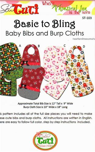 Basic to Bling    Sewing Pattern  Baby Bibs and Burp Cloths