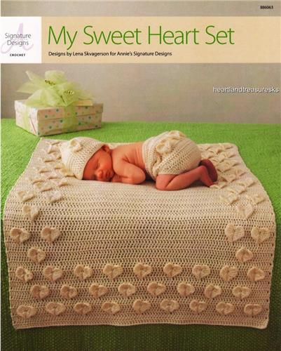 My Sweet Heart Set Baby Hat Pants Blanket Crochet Pattern Leaflet
