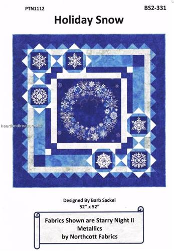 Holiday Snow Snowflake Wall Quilt Pattern w/ Fabric Panel
