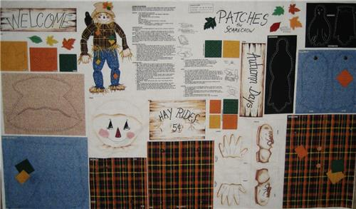 Patches The Scarecrow 100% Cotton Fabric Printed Panel Halloween & Fall