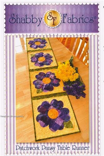 Patchwork Pansy Table Runner Applique & Pieced Quilt Pattern