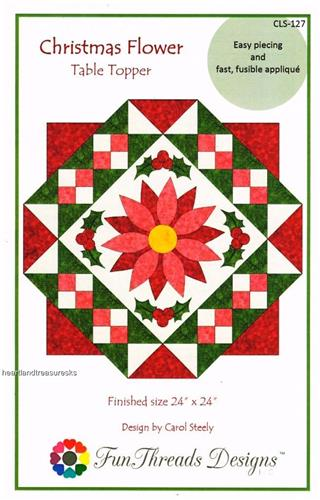 Christmas Flower   Tree Topper  Pieced & Applique Quilt Pattern