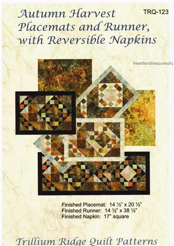Autumn Harvest  Placemats - Napkins - Runner Pieced Quilt Pattern