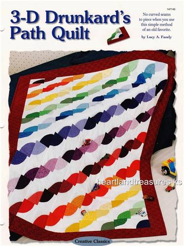 3-D Drunkard's Path Creative Scrap Quilt Pattern w/ Flexible Plastic Template